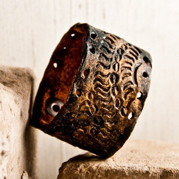 Tooled Leather Bracelets Wristbands Cuffs OOAK