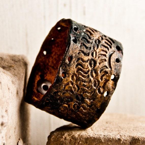 Tooled Leather Bracelets Wristbands Cuffs OOAK