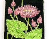 Water Lily Flower Pottery Art Tile Trivet
