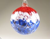 Glass Suncatcher Blown Ornament  - Red White and Blue Patriot Ball Tree Ornament