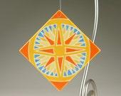 Pottery Christmas Tree Ornament Sunburst Art Tile