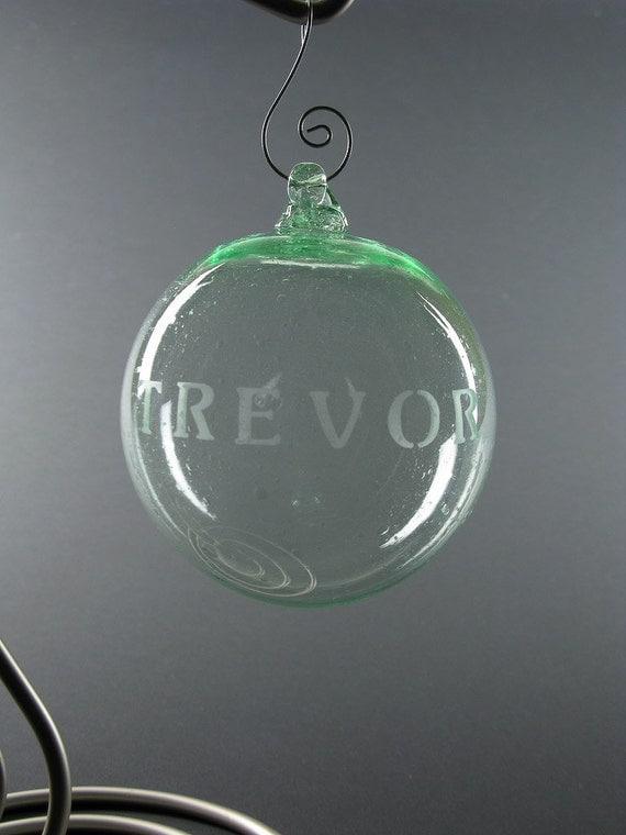 Personalized name word etched ball ornament blown recycled