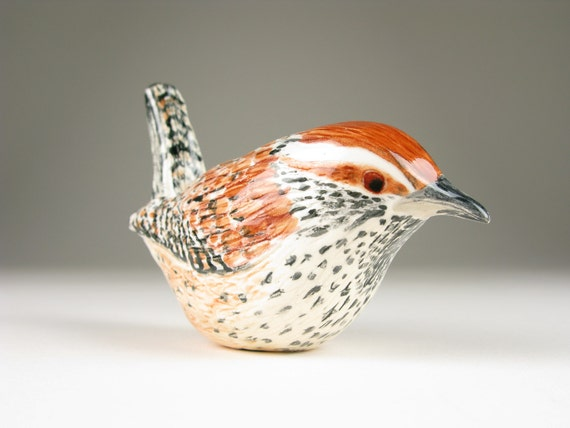 Ceramic Bird Hand Formed Cactus Wren