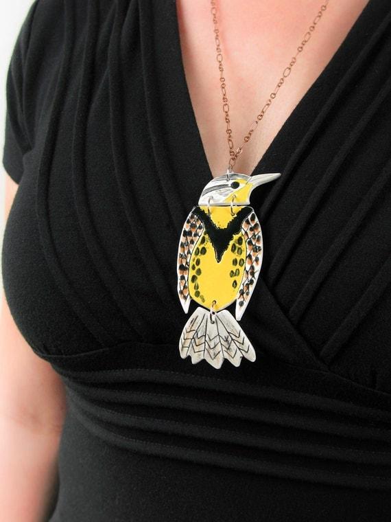 Bird Necklace Pottery Art Pendant - Western Meadowlark