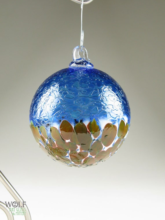 Blown Glass Ornament Suncatcher Ice Sapphire Blue White Amber Blossom Tree Ornament