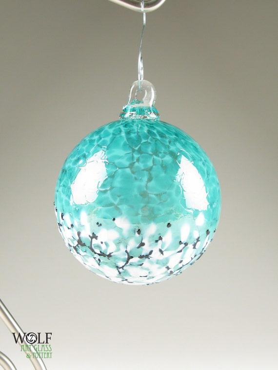 Blown Glass Christmas Holiday Ornament Suncatcher Deep Teal Blue Green Blossom