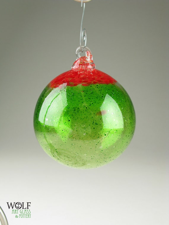 Blown Glass Holiday Ornament Cherry Lime Speckle