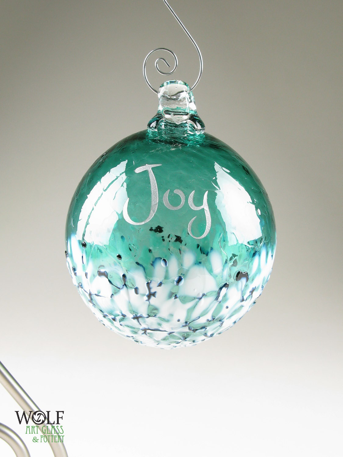 Glass christmas tree ornament silver joy etched ball deep teal