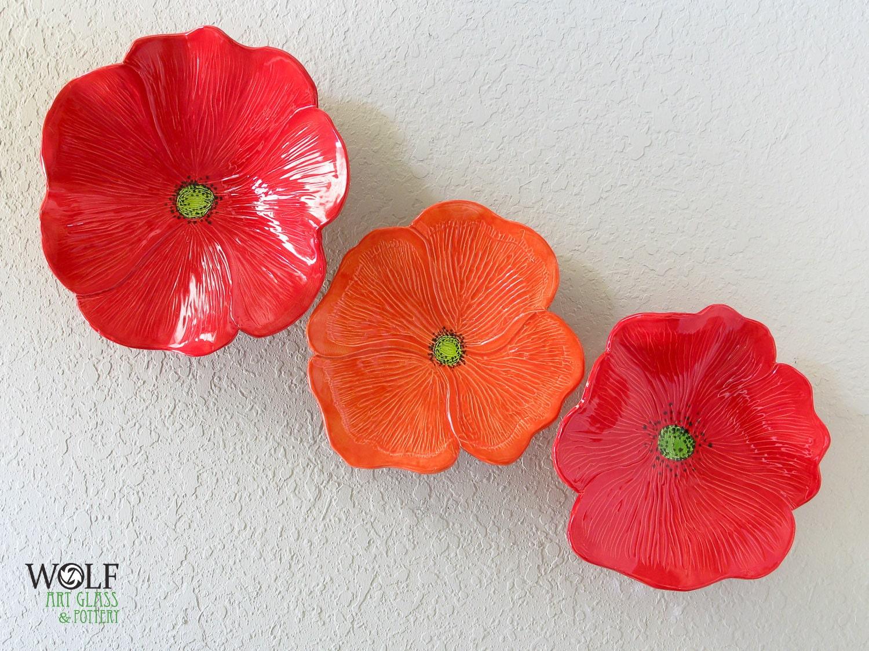 Red Poppy Wall Decor : Ceramic wall art red poppy flower trio home decor