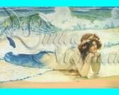 s83 FAT BLOCKS Vintage Victorian MERMAID Postcard Mermaid Fabric Cotton Mermaid Quilting Block