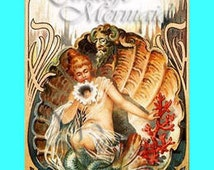s111 Vintage Victorian Art Nouveau Fabric Mermaid Postcard Print Block Panel Cotton Applique for Quilt.