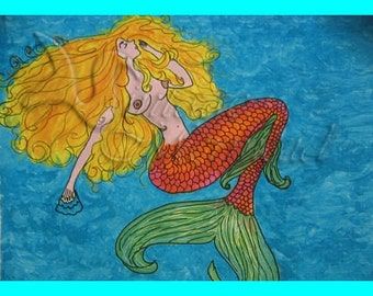 s68 Nice Art Folklore Blond Mexican Mermaid Painting Quilt Mermaid Fabric Block & Crafts.