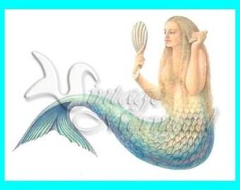 MERMAID FABRIC Vintage Mermaid My Beauty Cotton Fabric s87.
