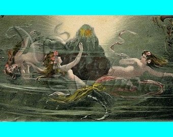 s54 vINTAGE FABRIC BLOCK Victorian Mermaids Fabric Print Cotton Postcard.