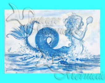 s24 Vanity THE MERMAID FABRIC Postcard Print Mermaid Fabric Block Panel Mermaid Applique for Quilt.