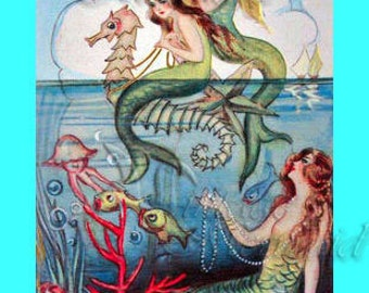 s28 MERMAIDS Sweet Italian Chiostri Mermaid Sisters Fabric Block Panel Applique for Quilt.