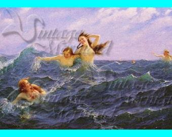 s212 SEA SIRENS FABRIC Vintage Mermaids Painting Cotton Mermaids Fabric Block Mermaids Applique