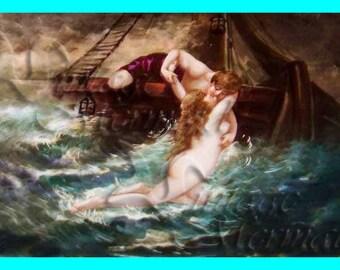 s262 VINTAGE FABRIC PRINT Renaissance Nymph Mermaid Painting Fabric Block Applique.