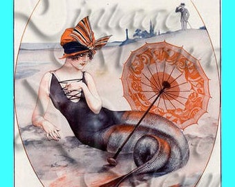 s283 EDWARDIAN MERMAID French Vintage Mermaid Postcard Fabric Block Mermaid Applique For Quilt