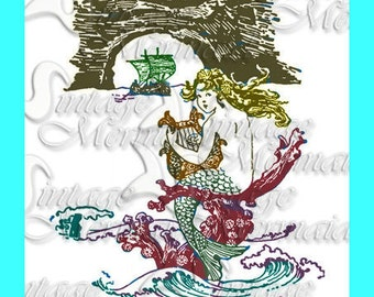 s244 PRINTED QUILT BLOCK Mermaid print Quilt Fabric Block Applique For Quilting.