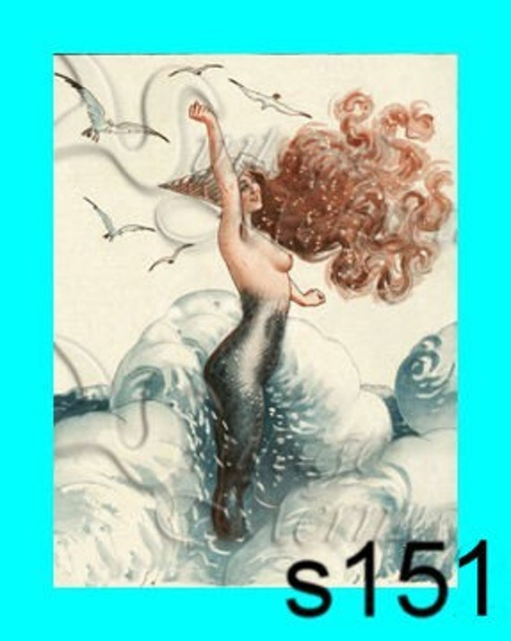 s151 MERMAID Vintage French Mermaid  Postcard Print Cotton Fabric Panel Applique for Quilt