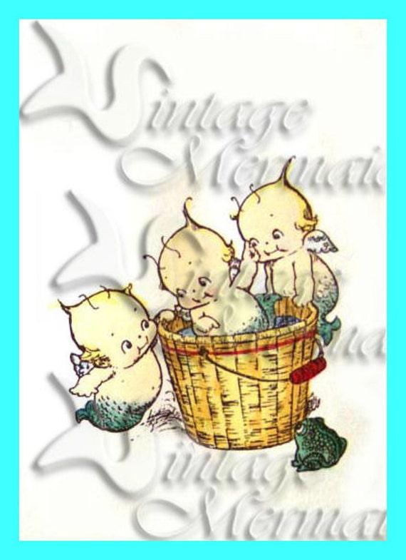 mb19 Adorable VINTAGE KEWPIES Mermaids MERBABIES Postcard Cotton Fabric Block Applique for Quilting.