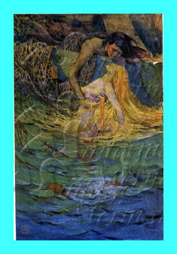 s17 MERMAID QUILT APPLIQUE Vintage Siren illustration Mermaid : mermaid quilts - Adamdwight.com