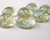 Bubble Magnets, Get organized in style - Set of 7, Acrylic, Aqua and Gold Scroll Pattern