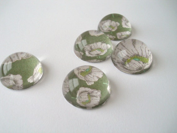 Vintage Flower Magnets, Bubble Magnets Gift Set, Kitchen Magnets, orchid and green