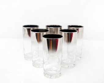 Six Vintage Silver Ombre Highball Glasses with Carrier