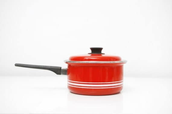 Vintage Red Striped Sauce Pan