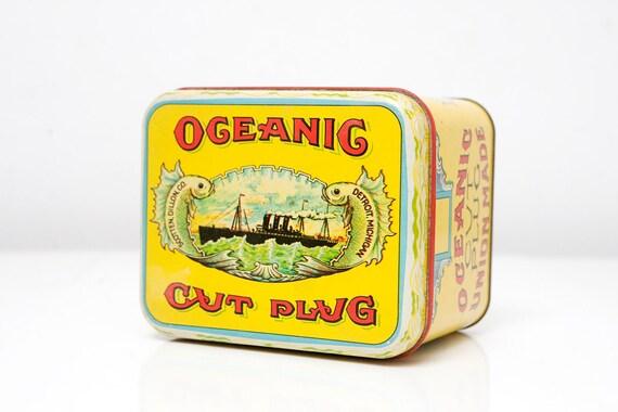 Vintage Oceanic Cut Plug Tobacco Tin by Cheinco