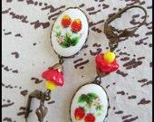 Picking Strawberries-Dangle Earrings-Ripe Vintage Berries