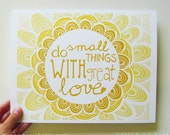 Graduation Gift, Sunshine, Yellow Ombre, Mother Teresa, Do Small Things With Great Love, Inspiration, Inspiring Quote 8 x 10 Art Print - penandpaint