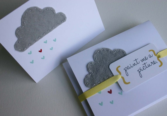 Hand Embroidered, Hand Painted Cards - Rain Cloud (set of 6 cards and envelopes)