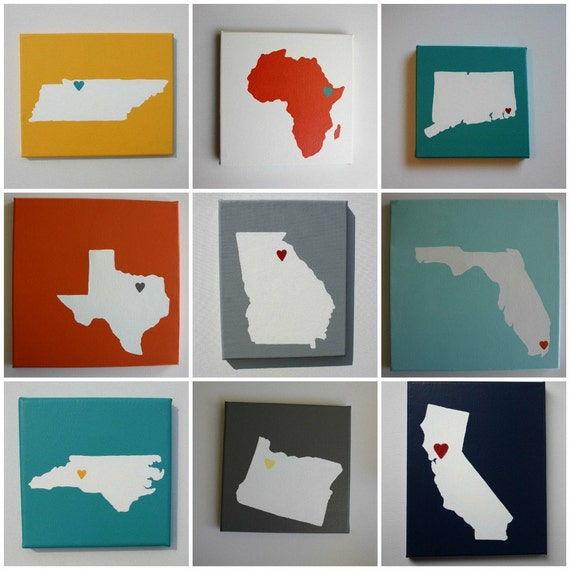 Choose your STATE or COUNTRY - Affordable Original Painting, Wall Art, Home Decor - Made to Order State Love (8 x 8 OR 8 x 10 Canvas)