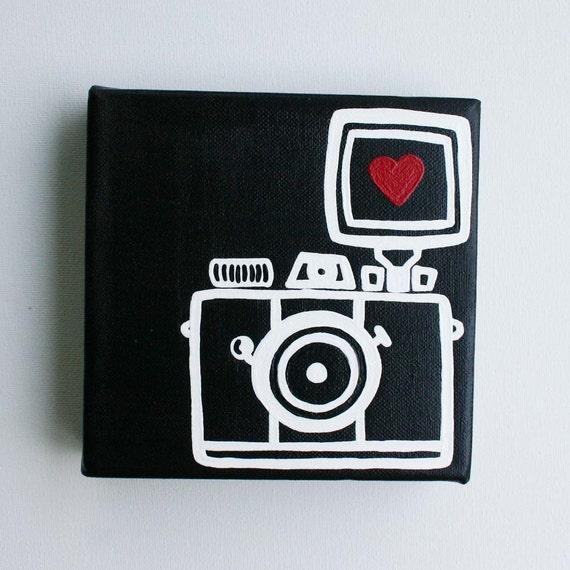 Camera, Lomography, Diana Mini, I heart photography - Affordable Original Painting, Wall Art, Home Decor (6 x 6 Canvas)