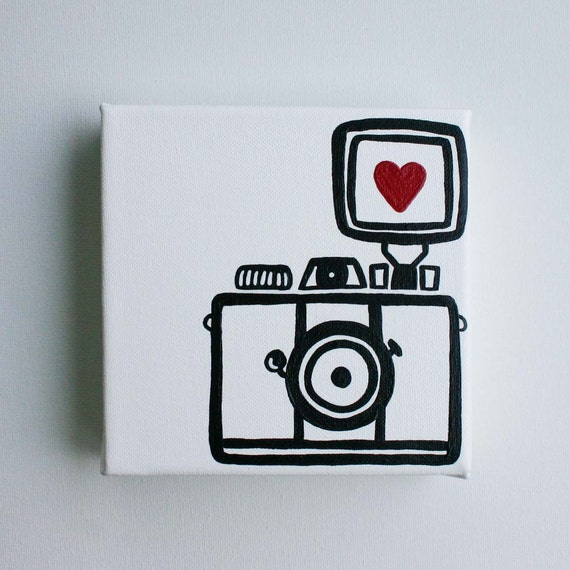 Camera, Lomography, Diana Mini, I heart photography - Affordable Original Painting, Wall Art, Home Decor (6 x 6 Canvas)