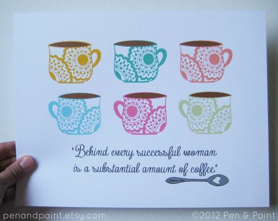 CLEARANCE Colorful  8 x 10 Art Print, Coffee, I love coffee, Coffee Lover, Funny Quote