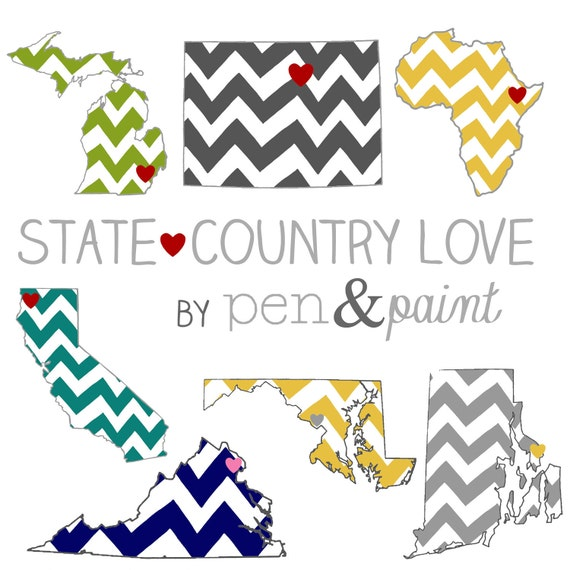 Custom, Personalized State Print, State Love, State Map, Country, Nation, Continent, Silhouette, 8 x 10 Art Print
