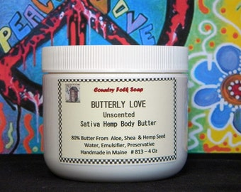 BUTTERLY LOVE Hemp Cream, Vegan Skin Care, Vegan Body Butter,  Sensitive Skin Care, Homemade Body Butter, Unscented Body Butter