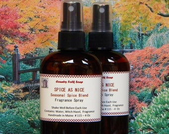 Spice As Nice Home Fragrance Spray - Handmade Fall Spice Air Freshener Spray - Kitchen Scent Spray