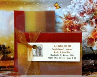 AUTUMNS DREAM Sandalwood, Amber Musk & Vanilla Soap - Handmade Sandalwood Soap