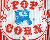 Vintage Style Wagon Popcorn Bags - Red and White Stripes - Gusseted 3 1/2 x 2 1/4 x 7 3/4 Inches - set of 200
