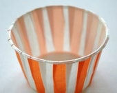 Stiped Nut or Portion Paper Baking Cups - Orange and White - set of 24
