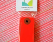 Mini Shipping Paper Tags - Sixteen Colors Available - 1.375 x 2.75 - Pack of 25 - Red