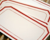 Set of  15 - Packaging and Gift Stickers - 2 x 3.5 Matte Finish - Vintage Style Simple Red Outline
