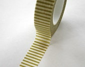 Washi Tape - 15mm - Chartreuse Light Olive Horizontal Stripe - Deco Paper Tape No. 104