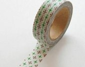Washi Tape - 15mm - Green and Plum Geometric Pattern - Deco Paper Tape No. 276