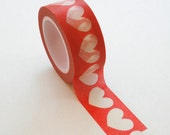 Washi Tape - 20mm - Large White Hearts on Red Pattern - Deco Paper Tape No. 255